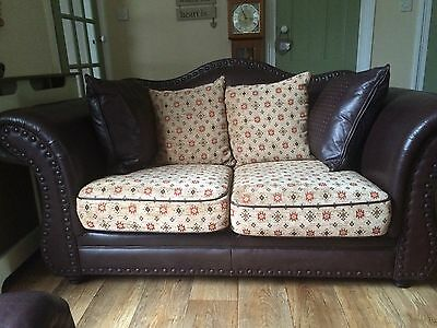 Three Piece Large Leather Sofa Brown & Footrest Was £5000 New