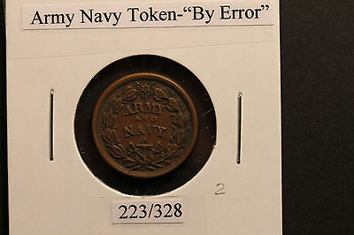 """US Civil War Token - Stunning! - Highly collectable Army/Navy """"by"""" error 1861-64"""