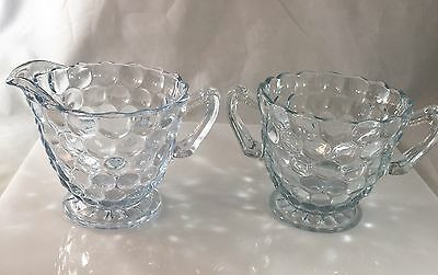 Vintage Emerald Anchor Hocking Glass Creamer and Sugar Pair Bubble Blue