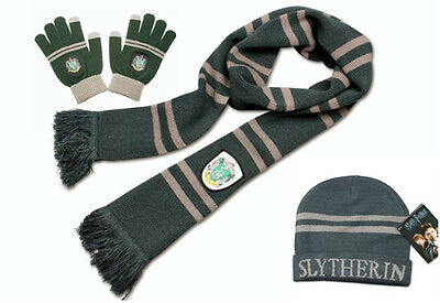 Harry Potter Slytherin Knit Soft Warm Scarf +Cap/Beanie/Hat+Gloves Costume Gift