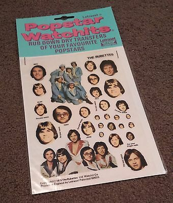 RUBETTES - Letraset Transfers - 1975 - Unused - Popstar Watchits
