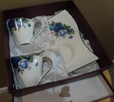 "Vintage ADELINE ""BLUE Roses"" 4 Piece 25th Anniversary BOXED WAVY Cups Saucer SET"