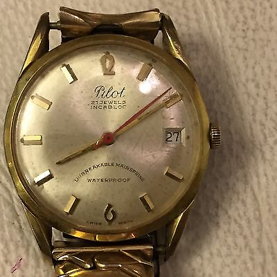 """An Old And Vintage Of 1930's Men's Gold Plate Wrist Watch """"PILOT"""" With Bracelet"""