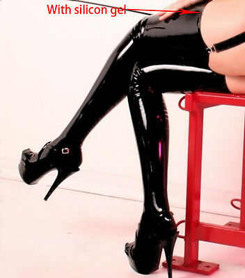 Sexy Womens Lingerie Black PVC Leather Wet Look Thigh High Stockings Shiny Socks