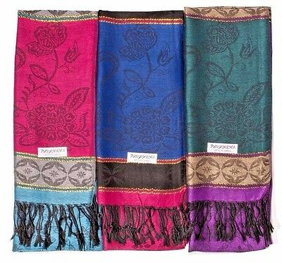 Lot of 12 NEW Women Soft Pashmina scarf Silk Cashmere Shawl Stole Wrap Wholesale