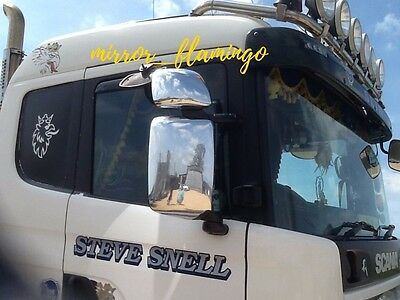 SCANIA TRUCK WAGON CHROME NOT STAINLESS STEEL Mirror COVERS Parts!RIGHT & LEFT!