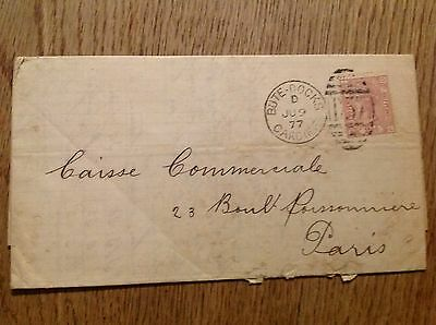 Old envelope letter Two Pence Half Penny stamp 1877 Bute Docks Cardiff to Paris