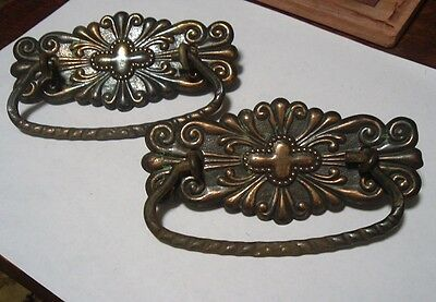 "2 Vintage Victorian Copper Finished Drawer Pulls  3"" Center Original"