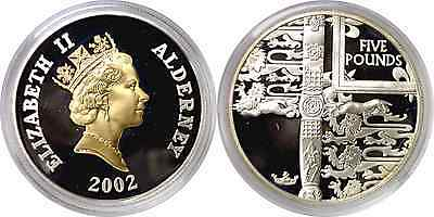 2002 Alderney 5 Pound Silver Gilt 50 Years Of Reign Proof KM# 24a