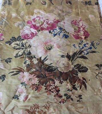 "Gorgeous Antique French Lyon Big Floral Rose Silk Fabric Yardage~L-129""X W-20"