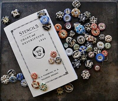 Stencil Button Booklet, Collectors Guide About Antique China Buttons Reference