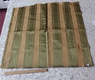 "Antique French Lyon Silk Green Stripe Textile c1890~Sample Fabric~23""LX26""W"