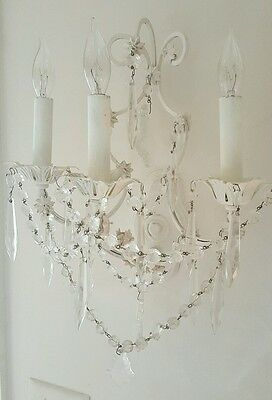Pair of 3 Arm Antique Italian Beaded Crystal Sconces Gilt Whitewashed