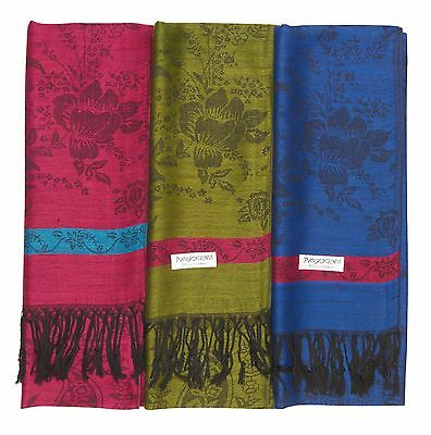 12 NEW Soft Silk Women Pashmina Silk Shawl Scarf Stole Wrap Wholesale LOT