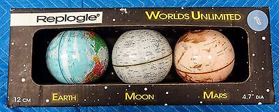 Replogle Worlds Unlimited Earth Moon and Mars Globe Set with guides