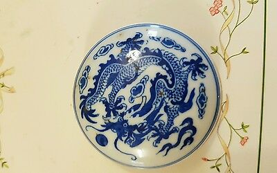 Vintage antique Chinese cosmetic pot blue white porcelain decorated with Dragon