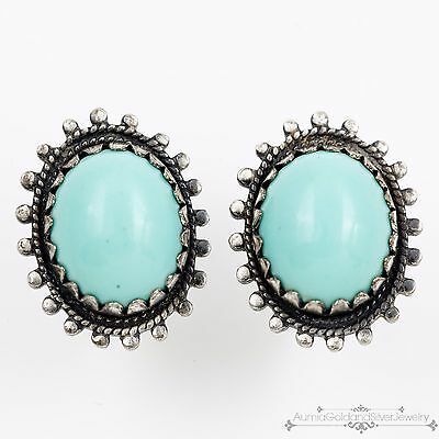 Antique Vintage Native Navajo Sterling Coin Silver Persian Turquoise Earrings!