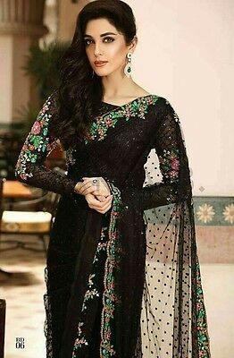 Maria B Designer Pakistani Bridal Sari Saree Latest Wedding Dress Shalwar Black