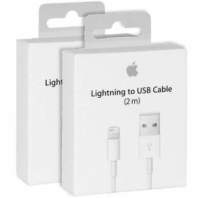 Genuine Apple 2m Lightning to USB Lead Cable iPhone 7 6s 6 5s iPad iPod