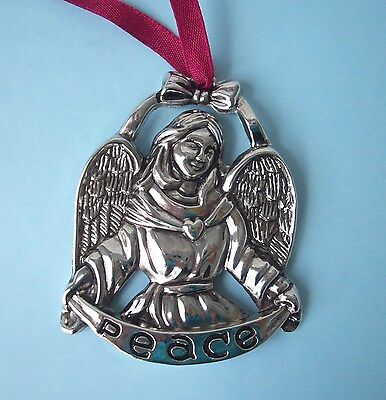"""Gorham Silver Plate """" Peace """" Angel Christmas Ornament"""