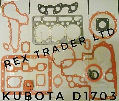 Kubota gasket kit D1703, L35, L3300, 3 Cyl gasket and seals complete 87mm bore