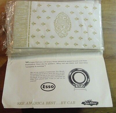 Vintage ESSO ATLAS Guest Towels Your Gift of the Month From Dealer See America