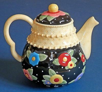 """Mary Engelbreit """"TEA BLOSSOMS"""" collectible TEAPOT 2001 Michel & Company"""
