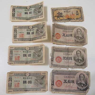 Lot of 8 Japanese Vintage Money Bills, Old WWII 5, 10, 50 Sen Japan