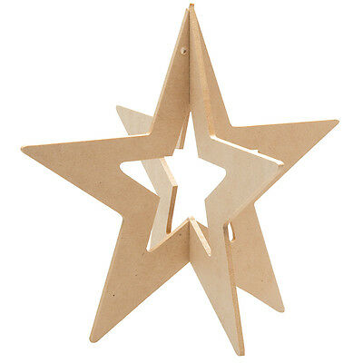 Hollow Wooden 3D Star  Pack of 12