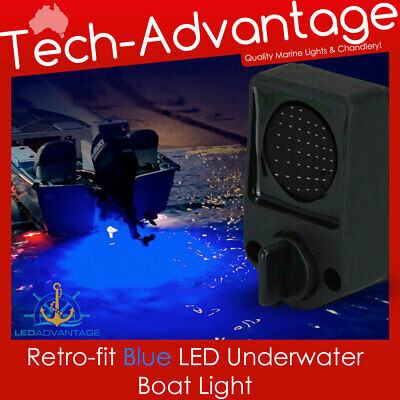 12V Blue Led Boat Underwater Transom Bung Plug Squid Fishing Bait Fish Light Kit
