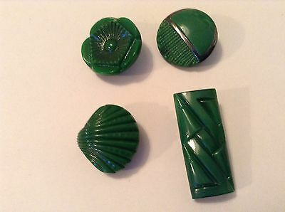 4 Green Deco Style Glass  Old/vintage  Buttons.