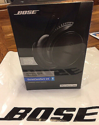 New Bose QC25 QuietComfort 25 Sealed - Triple Black Special Edition - Apple