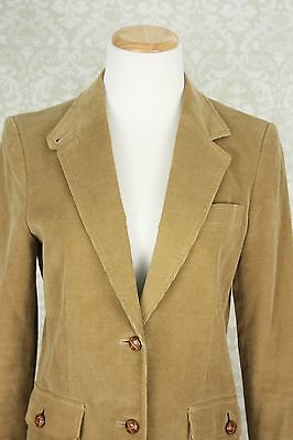70s 80s Hippy Boho Schoolboy Fitted Tan Corduroy Suede Elbow Patch Blazer Size 8