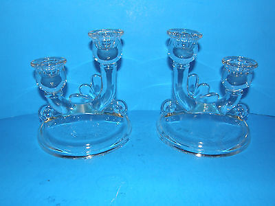 Set Of 2 Vintage Clear Depression Era Glass Double Candle Holders -Elegant