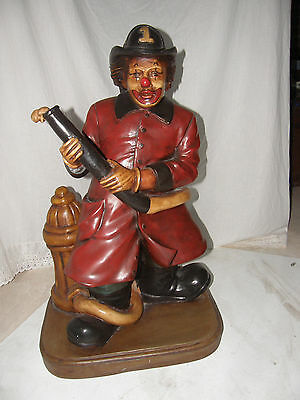 """Vintage Clown Fireman And Fire Hydrant Statue Ready For Action Made Of Resin 30"""""""