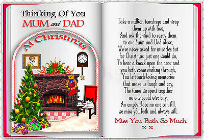 Mum And Dad Christmas Book Shaped Memorial  Graveside  Card & Free 1 Holder
