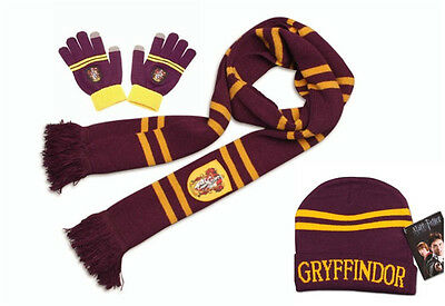 Harry Potter Gryffindor Knit Soft Warm Scarf +Cap/Beanie/Hat+Gloves Costume Gift