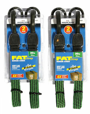 4 Pieces Fat Strap Bungee Highland 30-Inch Cords Flat Extra Wide Tarp-Camp-Boats