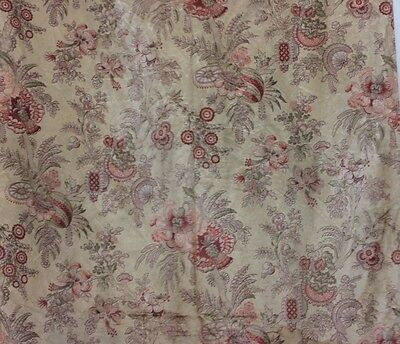 "Antique French 19thC Printed Silk Indienne Style Fabric~3yds 24""L X 30""W"