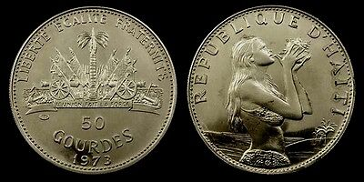 HAITI. Silver 50 GOURDES 1973. Woman and Concha shell. Proof-like
