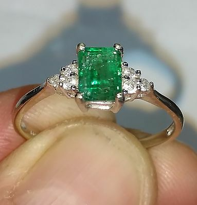 1ct Natural Mined Columbian Emerald, Diamond & 14K White Gold Ring - Size 10, 2g