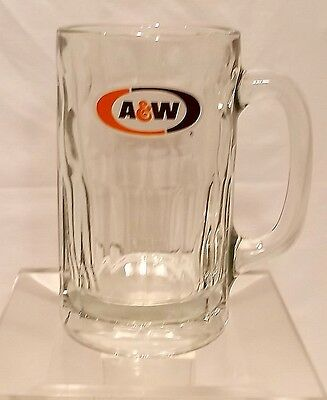 """Vintage 5.75"""" Tall A & W Root Beer Mug Heavy Glass with Handle"""