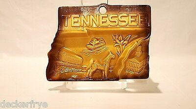 Vintage Great State of Tennessee Tan Brown Ceramic Ashtray Souvenir Tobacco USA