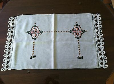 Antique Arts & Crafts Embroidered Linen Pillow Cover