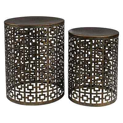 SET OF 2 Temara Brown Iron Stools Side Tables Coffee Bedside Stands Chairs Nest