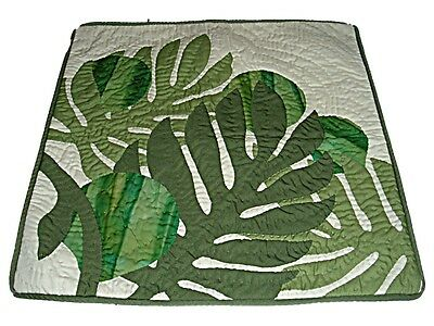 "Hawaiian Ulu Breadfruit Monstera Quilted Throw Pillow Case Cover- 16"" Green New"