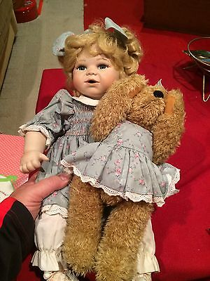 Seymour Mann Porcelain Baby Doll With Teddy Bear Matching Outfits