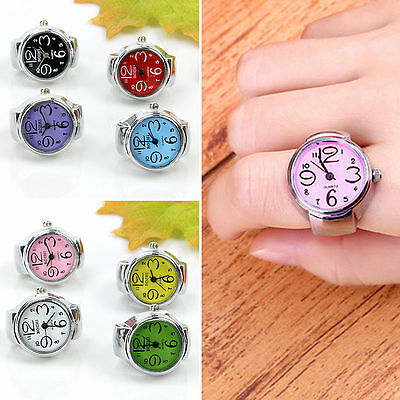 Creative Fashion Steel Round Elastic Quartz Finger Ring Watch Lady Couple Gifts