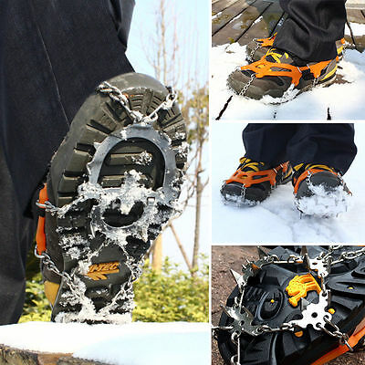 12-teeth Snow Ice Shoes Boot Spikes Grips Cleats Crampons Chain Anti Slip Hiking