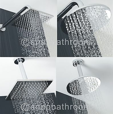 "Chrome 8""/12"" Round Square Stainless Steel Water Rainfall Overhead Shower Head"